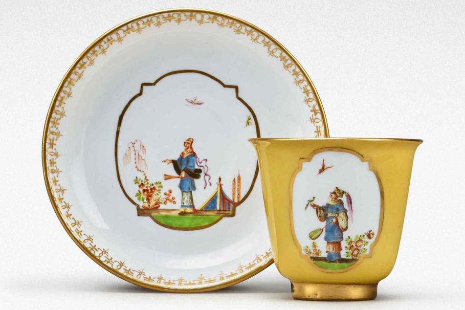 Aus dieser gelben Tasse samt Untertasse aus Meißner Porzellan trank August der Starke vor fast 300 Jahren seine Schokolade.