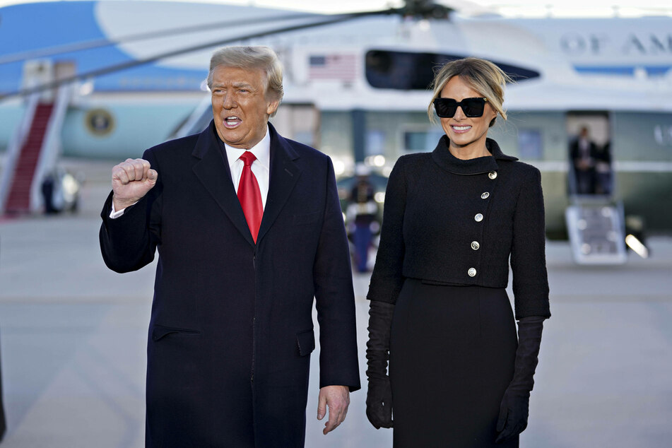 Donald Trump alongside his wife Melania at the small farewell ceremony held at Joint Base Andrews in Maryland.