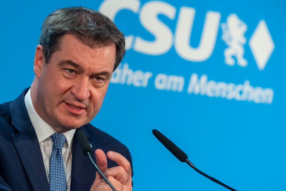 Markus Söder (53, CSU), Ministerpräsident von Bayern und CSU-Parteivorsitzender, gibt vor Beginn der CSU-Vorstandssitzung ein Statement.