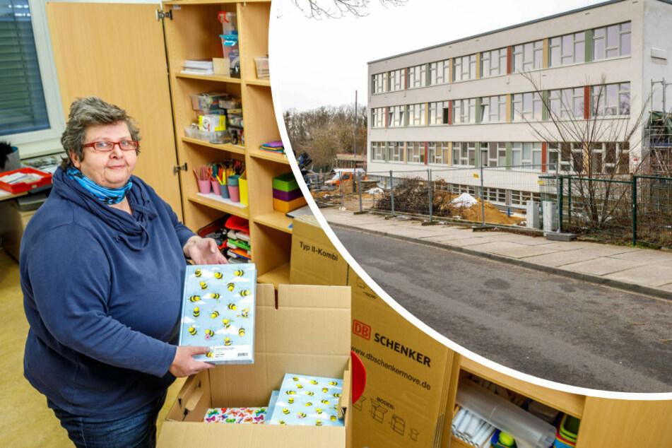 Claudia Megerlin-Otto (60) packt schon mal Kisten, auch wenn es für den Umzug der 19. Grundschule in das fast fertig sanierte Gebäude (r) noch keinen neuen Termin gibt.