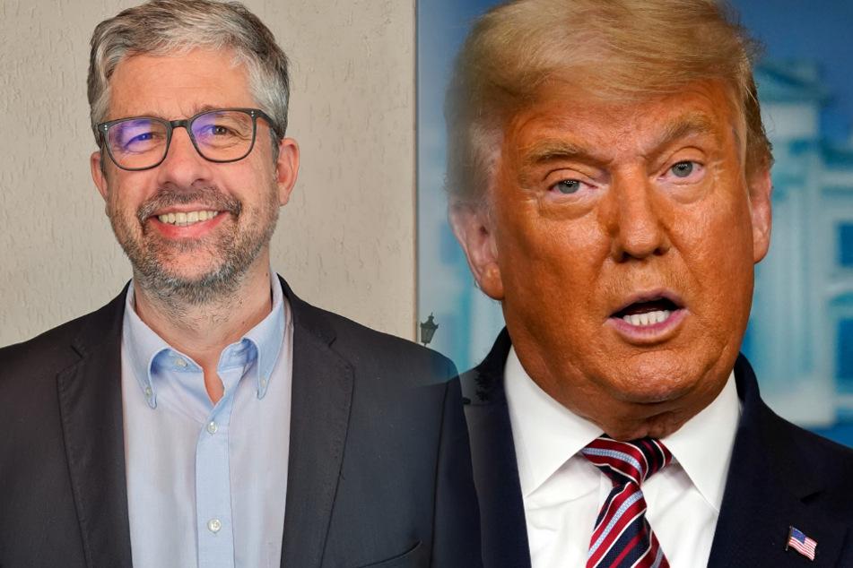 Fotomontage: Links, Carsten Trumpp (50), Bürgermeisterkandidat der Stadt Oberursel (Taunus), rechts, Ex-US-Präsident Donald Trump (74). Mehr als den ähnlichen Nachnamen haben die zwei aber nicht gemeinsam.