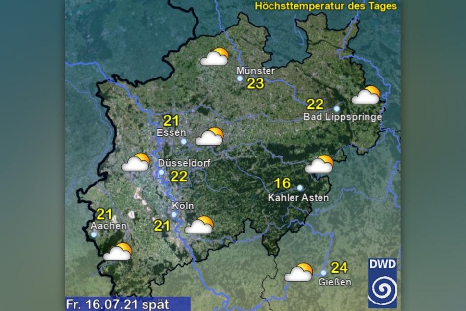 Am Freitagabend soll es in Nordrhein-Westfalen bewölkt, aber trocken sein.