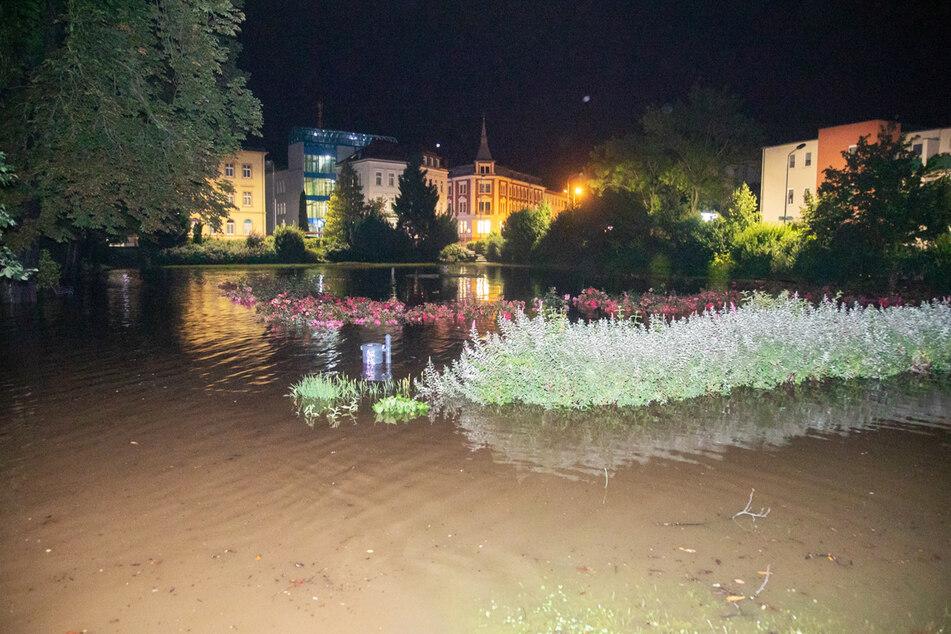Auch in Bischofswerda stand das Wasser in der Nacht im Stadtgebiet.