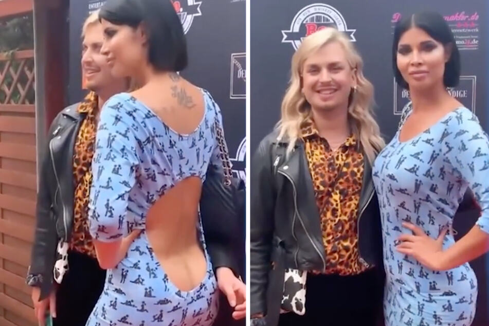Erotik-Model Micaela Schäfer (37) hat sich auf der Modenschau in Berlin mit tiefem Rückenausschnitt die Ehre gegeben. (Fotomontage)