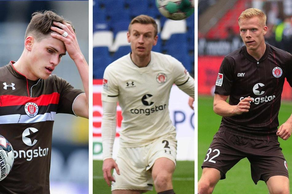Kämpfen um den Platz auf der Rechtsverteidiger-Position: Luca Zander (26, v. l. n. r.), Sebastian Ohlsson (28) und Jannes Wieckhoff