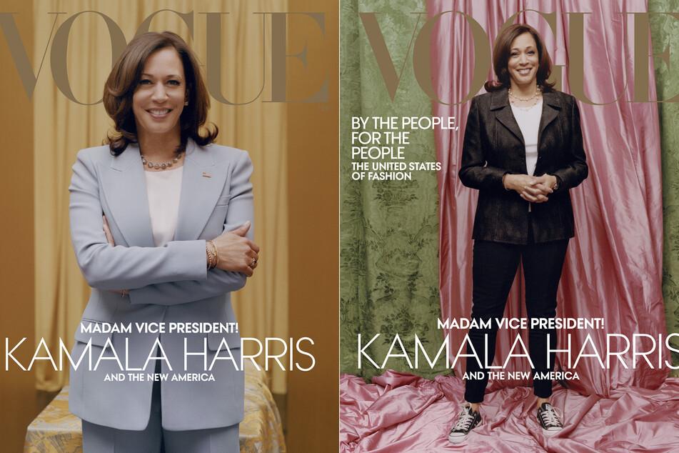 Kamala Harris (56), gewählte Vizepräsidentin der USA, ist auf dem digitalen (l.) und gedruckten Cover der Februar-Ausgabe der Modezeitschrift Vogue.