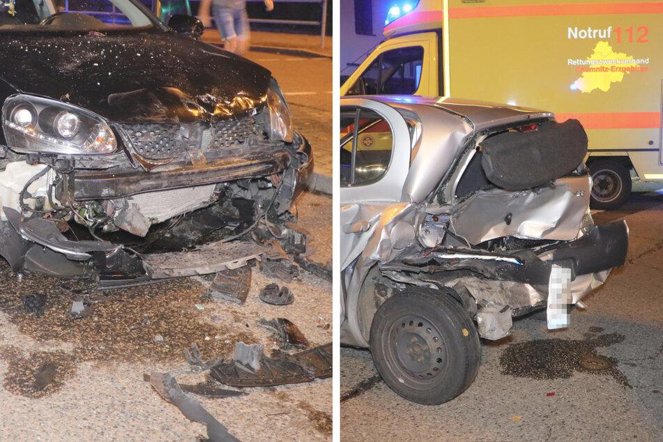 Fahrerflucht nach heftigem Crash an roter Ampel in Chemnitz