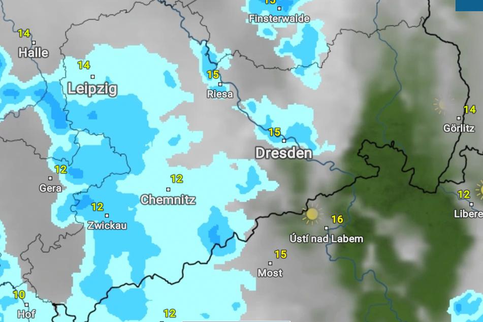 Die Prognose für den heutigen Abend: Weite Teile des Erzgebirges, die Landeshauptstadt und Leipzig werden nass. In den anderen Regionen kommt der Regen höchstwahrscheinlich zu anderen Zeitpunkten.