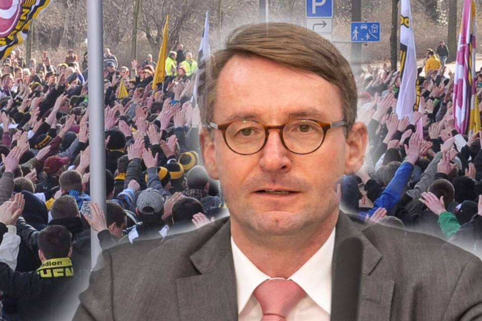 Solche Ansammlungen wie beim Geisterspiel 2012 zwischen Dynamo und Ingolstadt darf es nicht geben. Sachsens Innenminister Roland Wöller (49, CDU) will hart durchgreifen (Bildmontage)