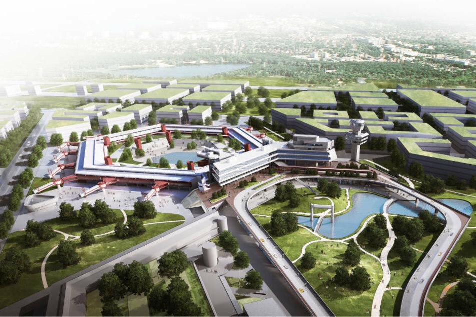 Ein Luftbild zeigt das markante sechseckige Terminal-Gebäude in seiner neuen Nutzung. Oberhalb schließt sich das neue Schumacher Quartier an, das Platz für mehr als 10.000 Menschen bieten soll. (Konzeptfoto)