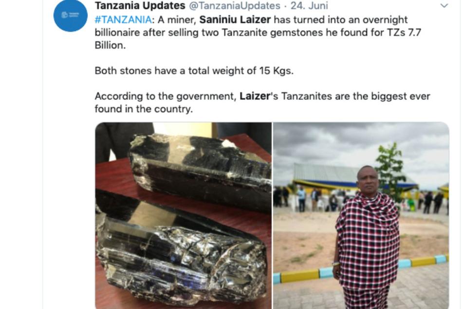 Auf Twitter war bereits die Hölle los. Der Mega-Fund bestimmt in Tansania die Schlagzeilen.
