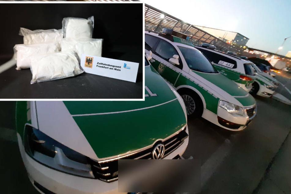 Bei der Kontrolle des Kurier-Fahrzeugs fanden die Beamten etwa 100 Kilogramm Amphetamin-Paste. (Bildmontage)