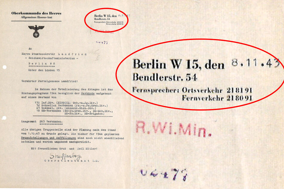 In diesem Stauffenberg-Brief steht eine Adresse, die es gar nicht gibt (Bildmontage).