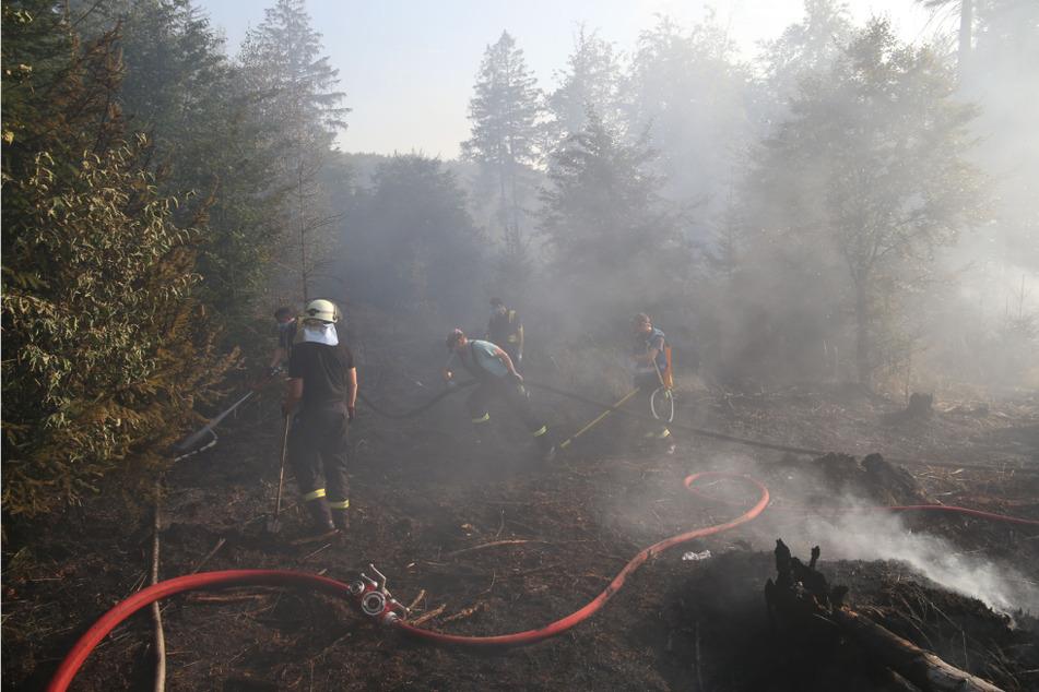 Die Feuerwehren sind weiterhin im Einsatz und bekämpfen die Flammen.