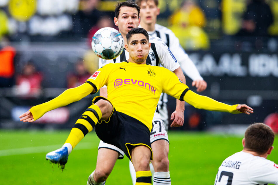 Achraf Hakimi (vorne-mittig) entwickelte sich in Dortmund zu einem exzellenten Flügelspieler, der seine Klasse auch in der Champions League nachwies.