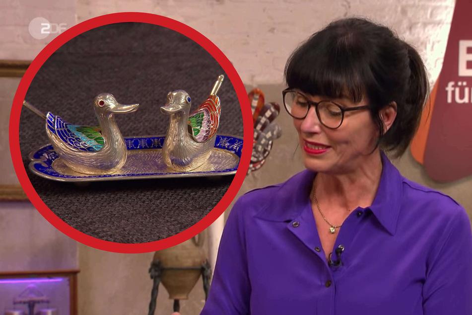 """""""Bares für Rares""""-Expertin Heide Rezepa-Zabel (56) ist beim Anblick der bunten Vögel sichtlich angetan."""