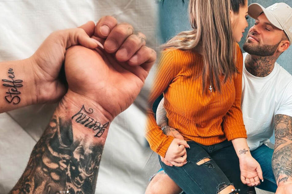 Liebe geht unter die Haut: Die Turteltäubchen tragen den Namen des anderen auf dem Unterarm. (Montage)