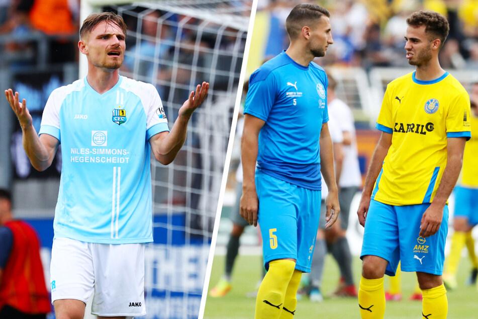 Auch der Chemnitzer FC (l.) und 1. FC Lok Leipzig müssen coronabedingt aussetzen.