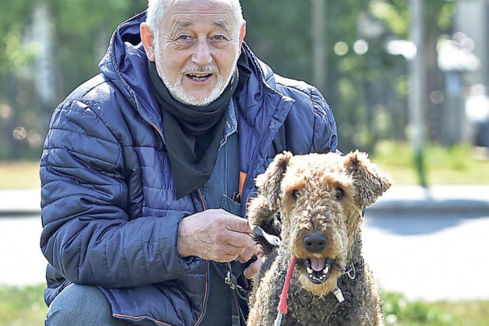 """Gerd Köchlin (72) spaziert mit Airedale-Terrier-Hündin Sissy (8) gern an der Elbe. Der Rentner findet Dresden """"halbwegs hundefreundlich"""". Er ärgert sich über: Hundehalter, die den Kot ihrer Tiere nicht beseitigen und Mitbürger, die Hunden mit Hass begegnen."""