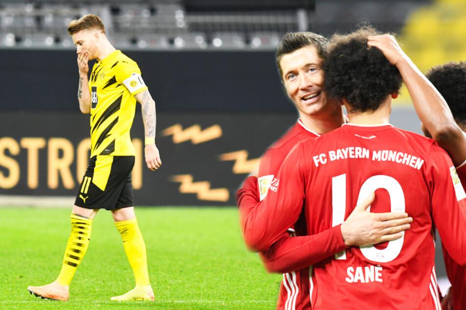 Während Marco Reus (l.) die Riesenchance zum 3:3 vergab, konnten Robert Lewandowski (2.v.l.) und Leroy Sané über den Bayern-Sieg jubeln.