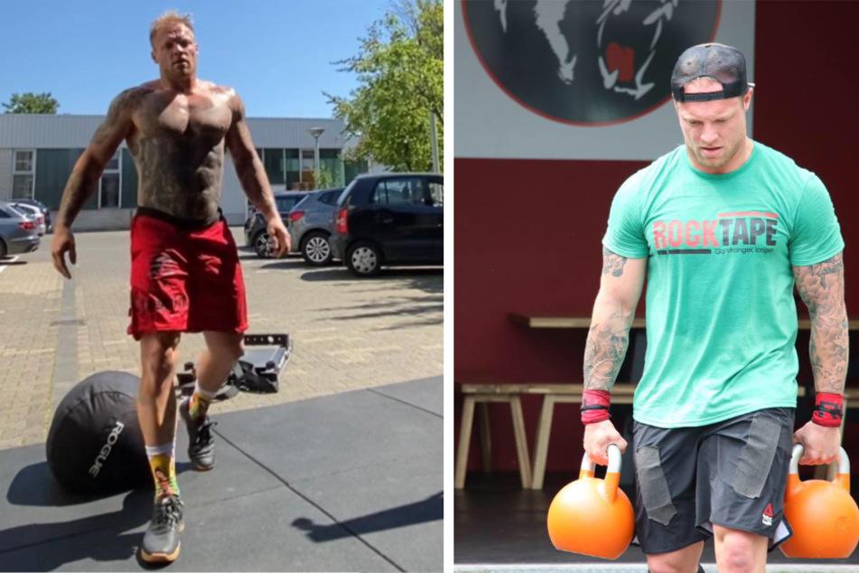 Der Beweis: Thomas Hübener ist jetzt ein wahres Kraftpaket. Zwei 20-Kilo-Gewichte zu schleppen, ist für Thomas Hübener kein Problem.