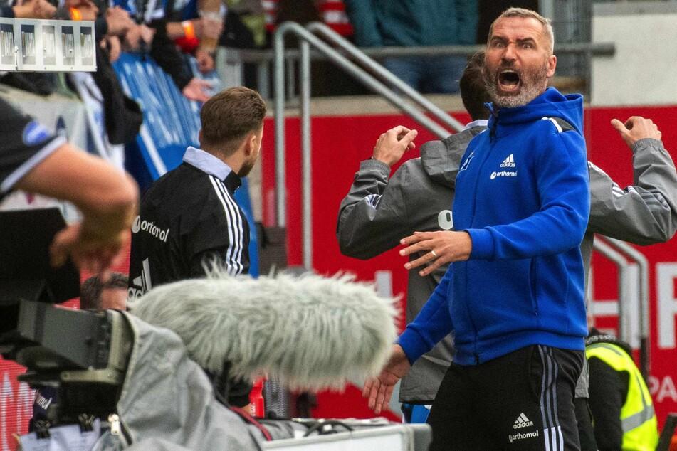 HSV-Trainer Tim Walter regt sich fürchterlich über eine Schiedsrichter-Entscheidung auf.