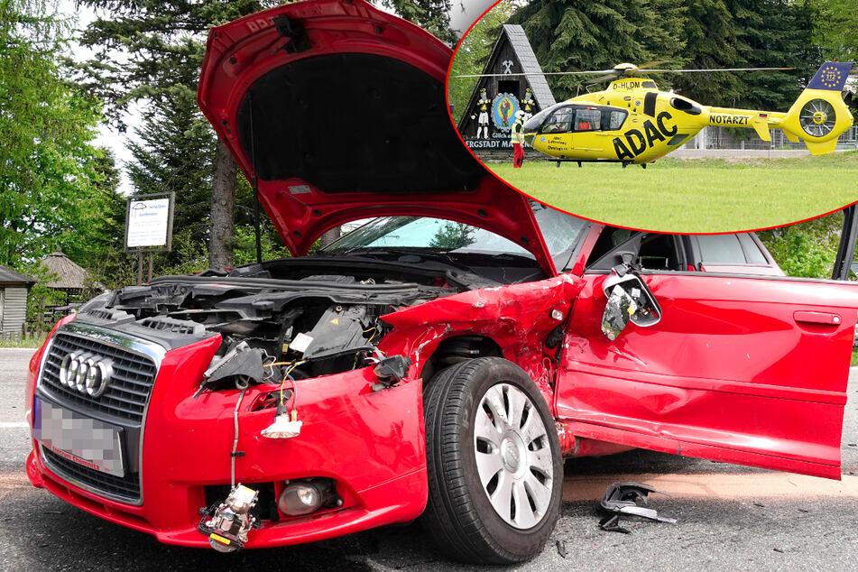 Erzgebirge: Audi-Fahrer kracht mit Transporter zusammen, Rettungshubschrauber im Einsatz