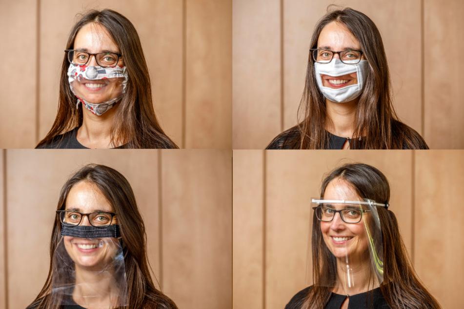 Sie sehen nicht nur frech und fesch aus, für Hörgeschädigte haben sie auch einen echten Nutzwert: Sprachheiltherapeutin Dominique Kronesser (38) präsentiert verschiedene Mund-Nasen-Masken mit Sichtfenstern aus Plastik, um von den Lippen ablesen zu können.