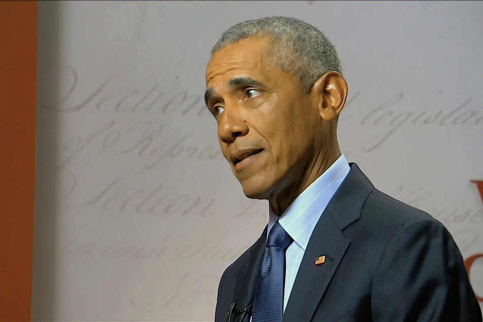 A still frame of Barack Obama, former president of the USA, during the US Democratic Party Convention.