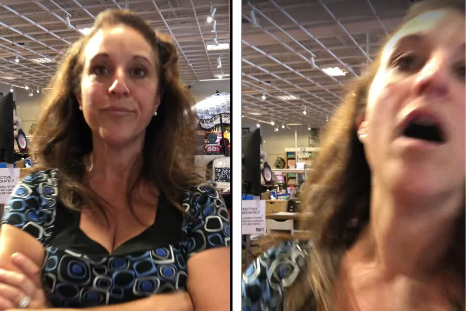 Upset that she was being filmed while asking for a refund for a product she didn't bring with her, Debra Hunter chose to cough on the woman filming her.