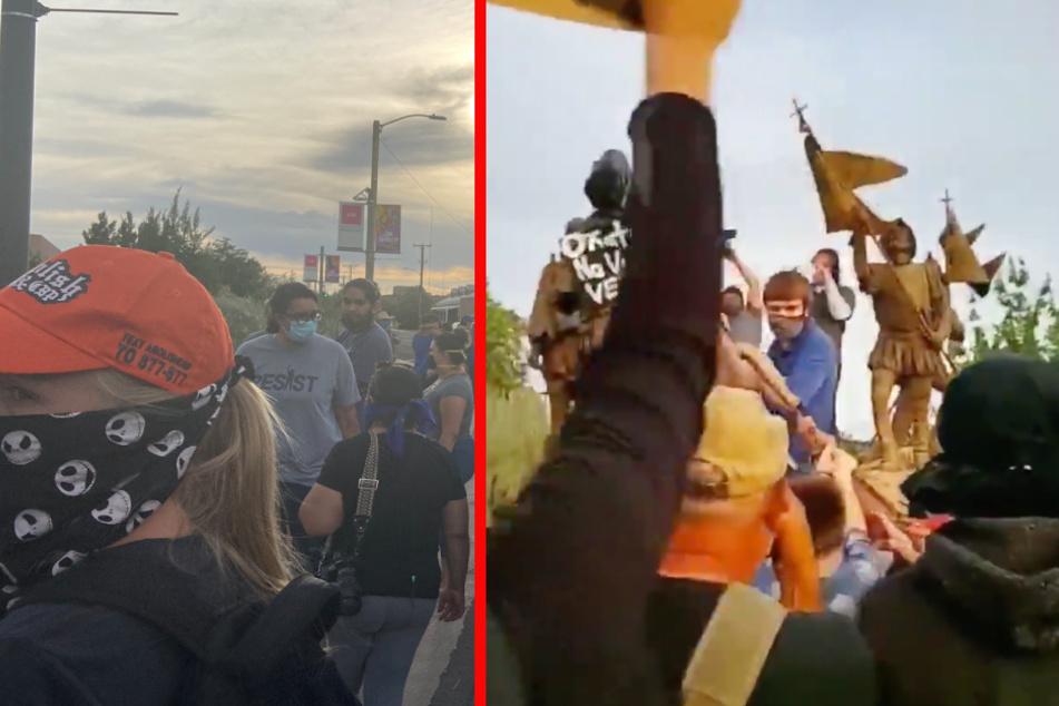 Demonstranten wollen Statue umstürzen, dann fallen Schüsse