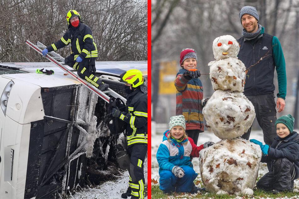 Dan Behrens (37) mit Ida (5), Nathan (5) und Emil (9) bauten im Großen Garten am Sonntag einen Schneemann (Bild rechts). Bei Schkeuditz musste derweilen die Feuerwehr auf der S1 einen Busfahrer (47) befreien, der mit seinem Fahrzeug umgekippt war.