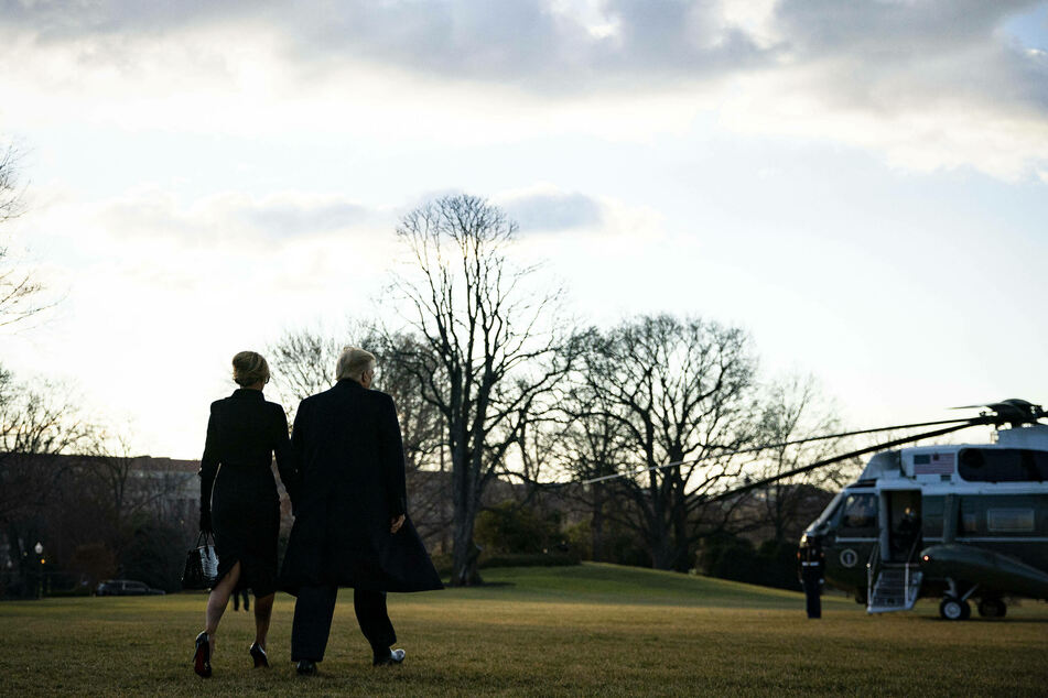 Donald and Melania Trump prepare to board Marine One on the South Lawn of the White House.