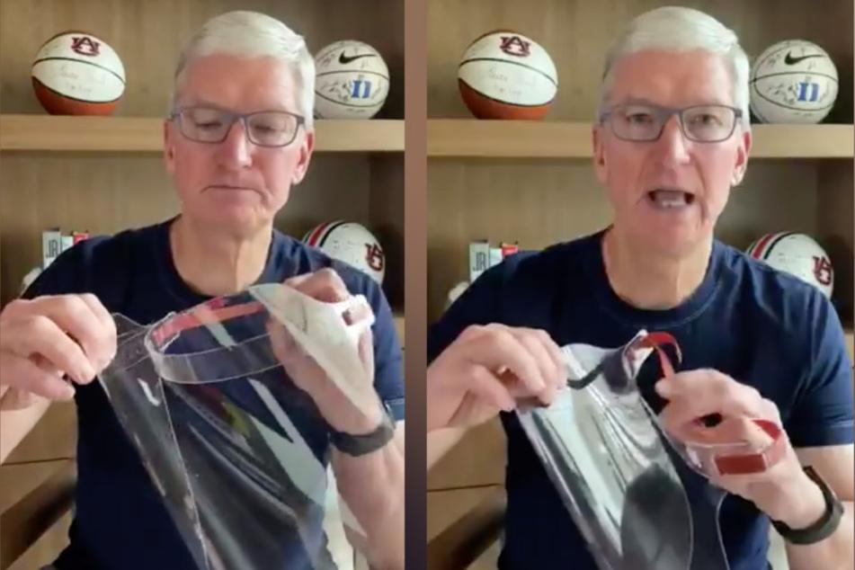 Tim Cook (59) mit der Apple-Maske.