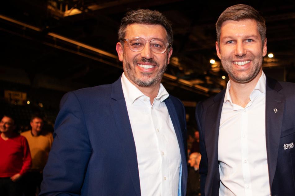 VfB-Präsident Claus Vogt (l., 51) und Vorstandsboss Thomas Hitzlsperger (39) müssen in Quarantäne.