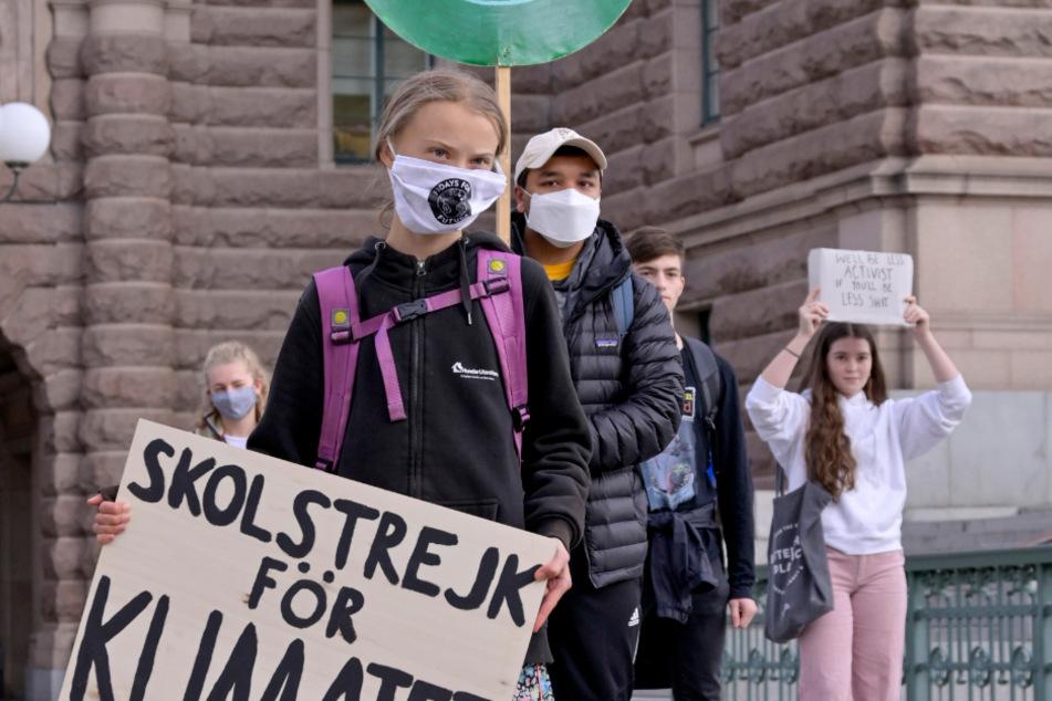 Die Anführerin der weltweiten Klimaschutzbewegung Fridays for Future versammelte sich am Freitagmorgen gemeinsam mit einem guten Dutzend weiterer Demonstranten vor dem Parlament in Stockholm.