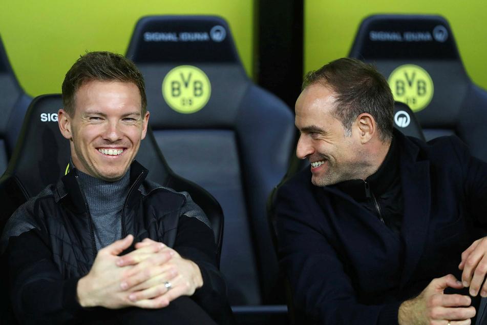 Um einen vorzeitigen Abgang von Trainer Julian Nagelsmann (33, l.) macht sich Geschäftsführer Oliver Mintzlaff (45) keine Sorgen.