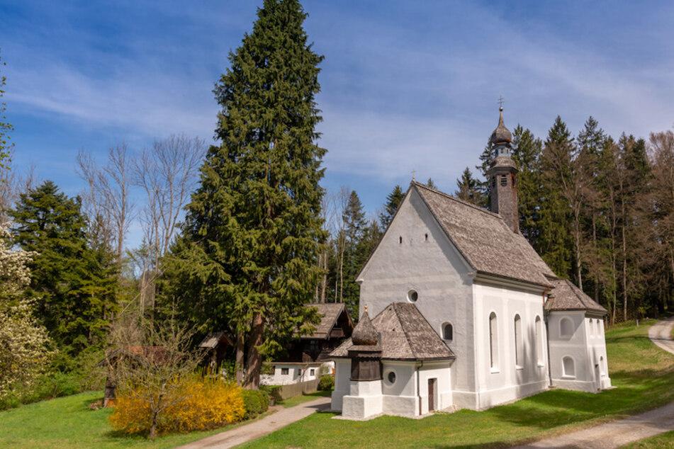Das Haus des Bruder Damian, der als Eremit in einer Einsiedelei auf einem Berg lebt, steht hinter der Kirche Mariä Heimsuchung.