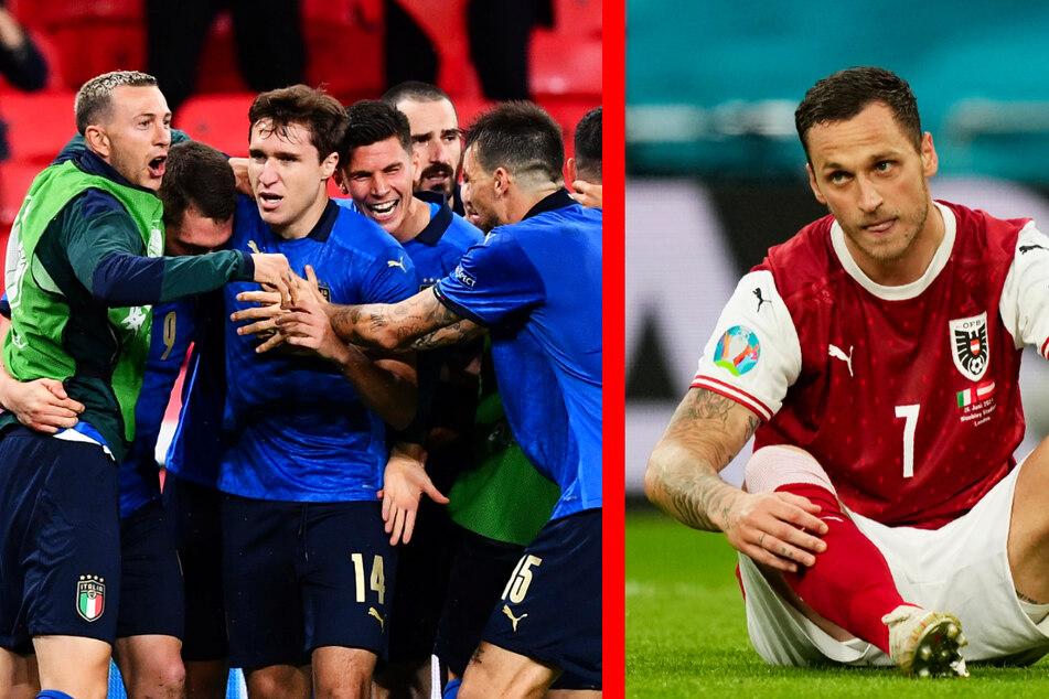 Am Ende jubelten die Italiener um Federico Chiesa (3.v.l.) über ein Einzug ins Viertelfinale. Der große Fight der Österreicher um Marko Arnautovic (r.) blieb ohne Belohnung.