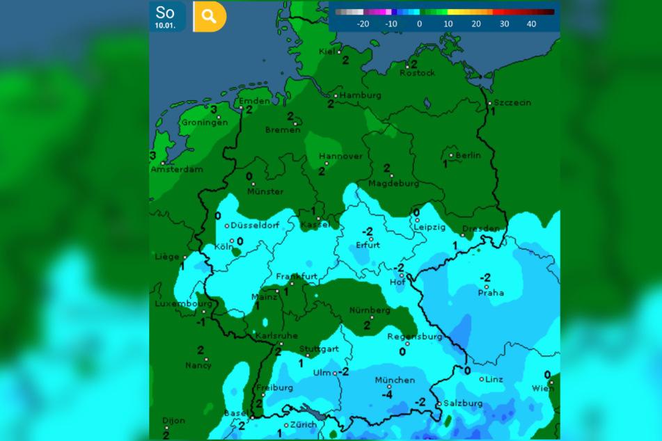 Während es im Norden mild bleibt, wird es in den anderen Teilen Deutschlands bitter kalt.