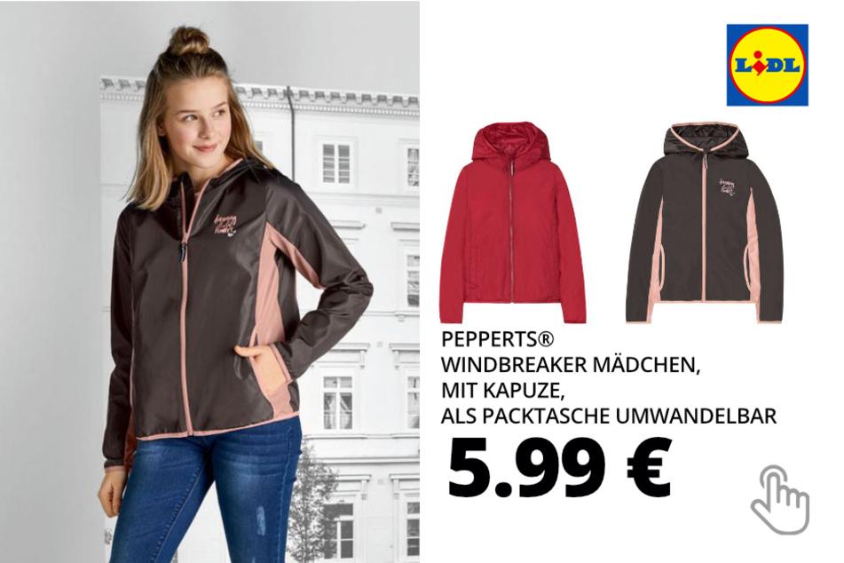 PEPPERTS® Windbreaker Mädchen, mit Kapuze, als Packtasche umwandelbar