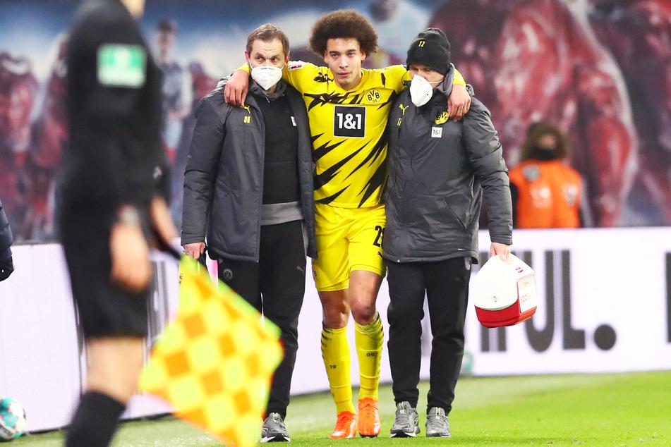 BVB-Strippenzieher Axel Witsel (32, 2.v.r.) riss sich am 9. Januar 2021 im Spiel gegen RB Leipzig die Achillessehne und fällt seitdem aus.