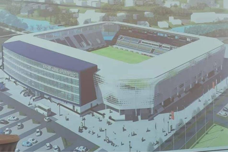 So soll das neue Ernst-Abbe-Sportfeld des FC Carl Zeiss Jena aussehen. Die Bauvorhaben für das neue Stadionrund haben offiziell begonnen.