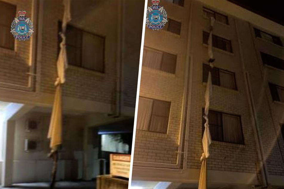 An diesem Konstrukt seilte sich der 39-Jährige aus dem vierten Stock ab.