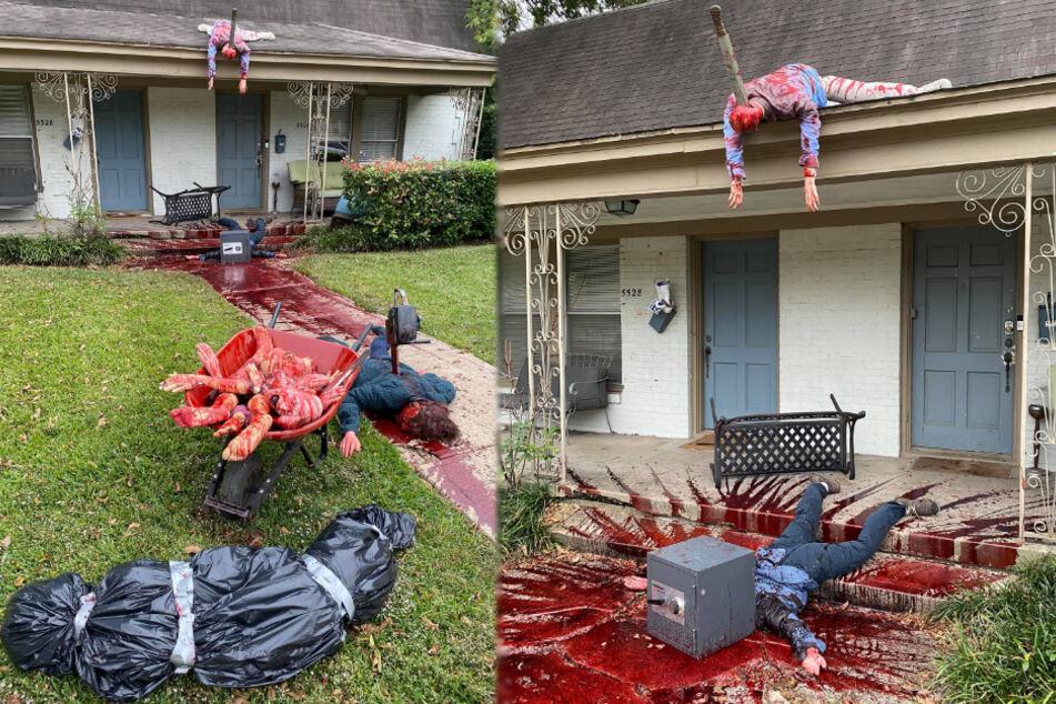 Horror-Szenen in einem Vorgarten in Dallas.
