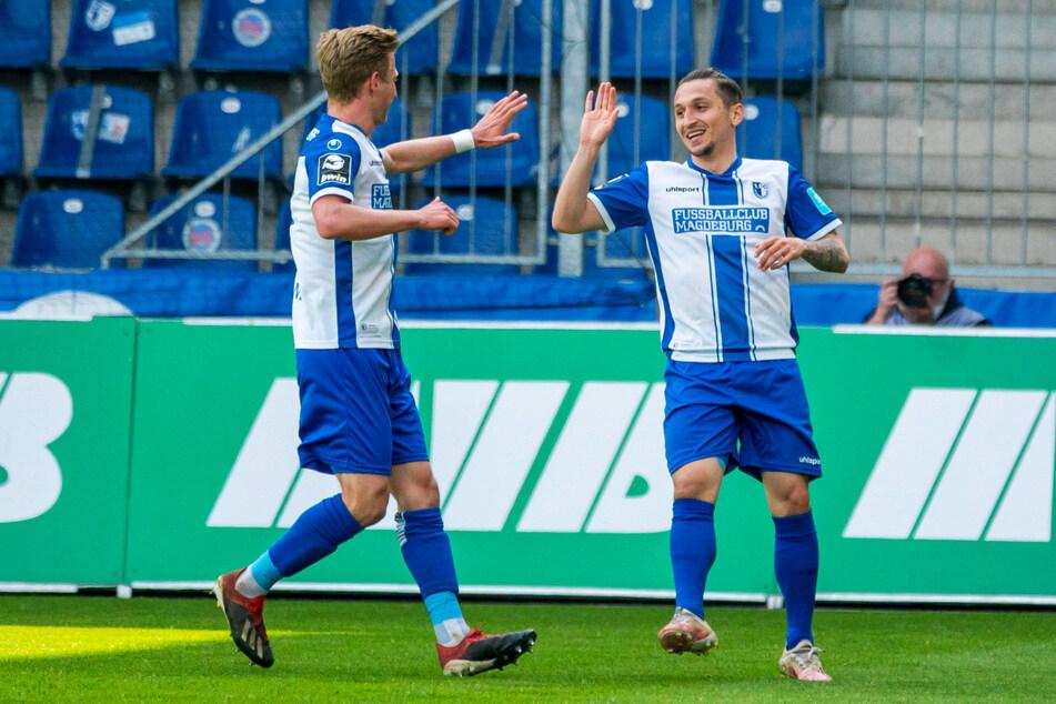Wer sonst? Natürlich traf auch Baris Atik (26, r.) wieder für den 1. FC Magdeburg. Er legte auch noch das erste Tor des FCM auf und hat in 13 Einsätzen nun sieben Treffer selbst erzielt und acht Assists gegeben - klasse!