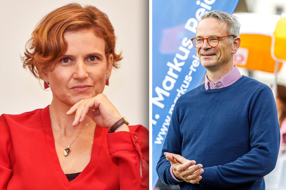 Katja Kipping (43, Linke) will Samstag noch Wähler in der Dresdner Straßenbahn überzeugen. CDU-Kandidat Markus Reichel (53) suchte auch am Freitag wieder das Gespräch mit den Dresdnern.