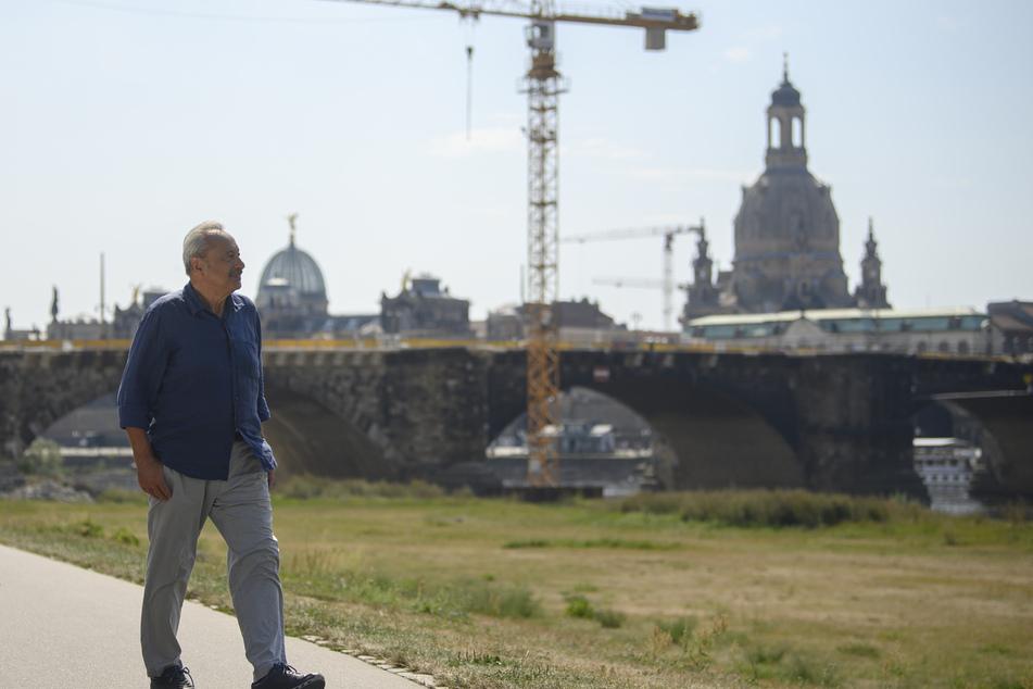 Wolfgang Stumph (74) bei Dreharbeiten in Dresden.