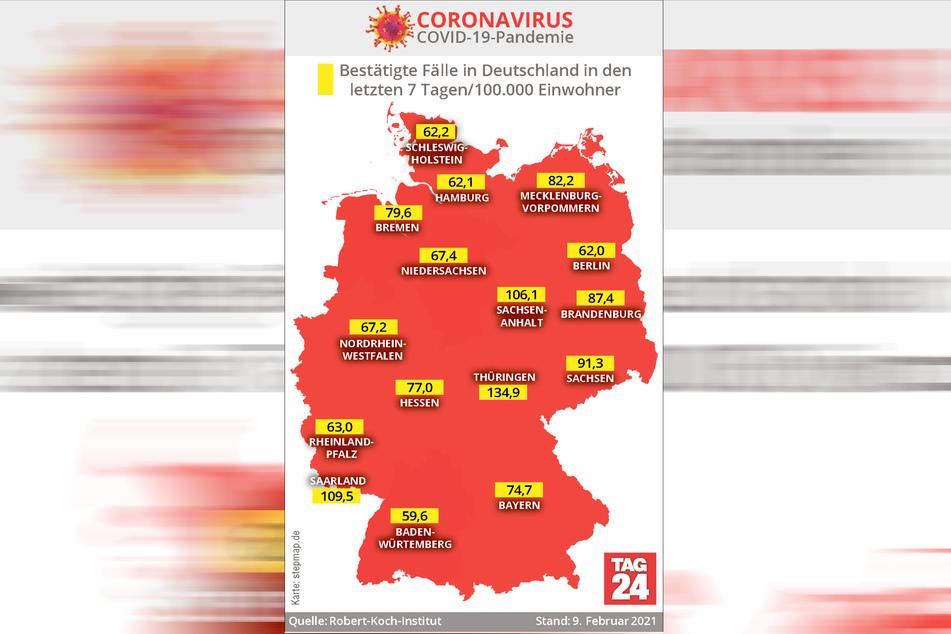 Thüringen weist mit 134,9 derzeit die höchste Sieben-Tage-Inzidenz in Deutschland auf.