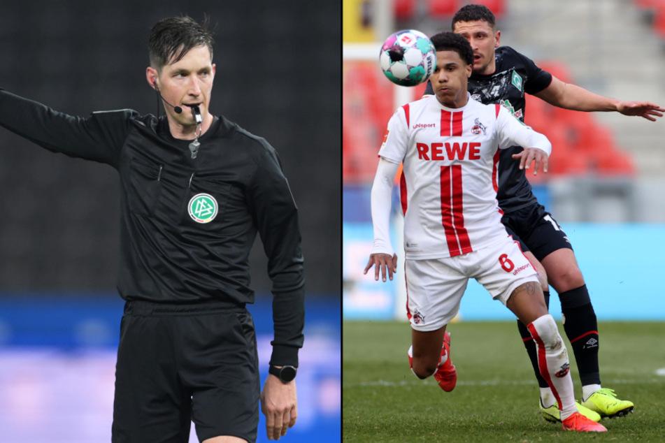 Schiedsrichter Matthias Jöllenbeck (34) hatte Kölns Ismail Jakobs (21) im Spiel gegen Werder Bremen (1:1) zu Unrecht verwarnt. (Fotomontage)